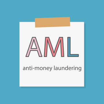 AML Anti-money laundering written in a notebook paper- vector illustration