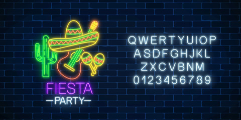 Glowing neon fiesta holiday sign and alphabet. Mexican festival flyer design with guitar, maracas, sombrero and cactus.