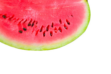 Half watermelon  on white isolated background.Top view. Flat lay.