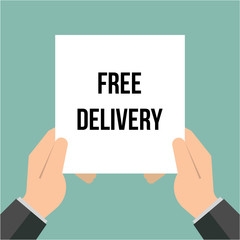 Man showing paper FREE DELIVERY text