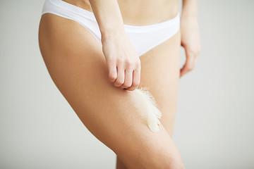 Long Woman Legs With Beautiful Soft Skin. Beauty Body Care
