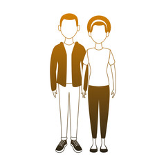 Young couple cartoon vector illustration graphic design