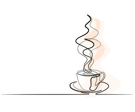 Continuous one line drawing of cup of coffee. Vector illustration