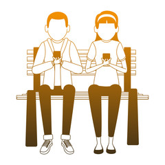 Young friends seated at chair chatting using smatphones vector illustration graphic design
