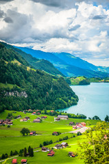 Wall Mural - Aerial view on Lungernsee lake near Luzern, Switzerland, Europe