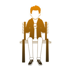 Young man seated on chair using smartphone vector illustration graphic design