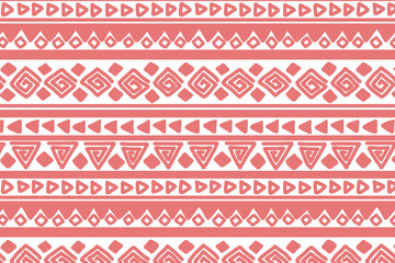 Pink and white geometric background. Ethnic hand drawn pattern for