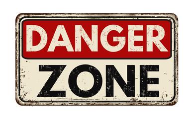 Danger zone vintage rusty metal sign Wall mural