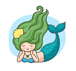 Lying mermaid with green wavy hair. Cartoon character. Vector illustration.