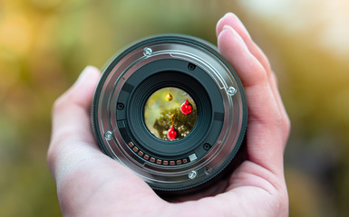 beautiful christmas decoration view look through the camera lens photography