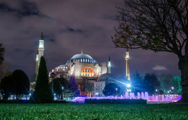 View of the Hagia Sophia at night in Istanbul, Turkey.