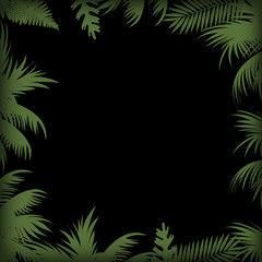Abstract background with palm tree leaves. Vector.