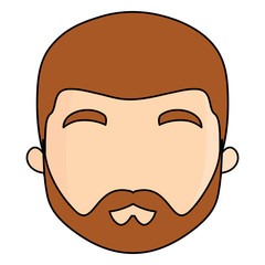 avatar man with beard over white background, vector illustration
