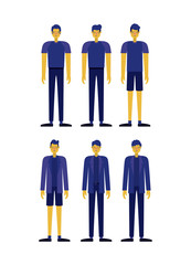 group of men retro styles characters vector illustration design