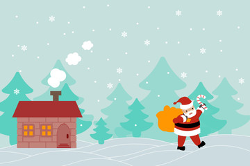 beautiful vector banner greeting card with Santa Claus