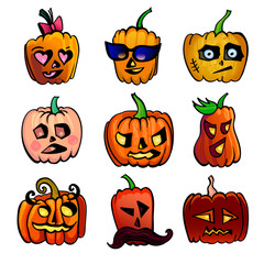 Halloween cute cartoon Pumpkin icons set. Vector illustration of Halloween character of 9 different funy faces for autumn holiday isolated on white background