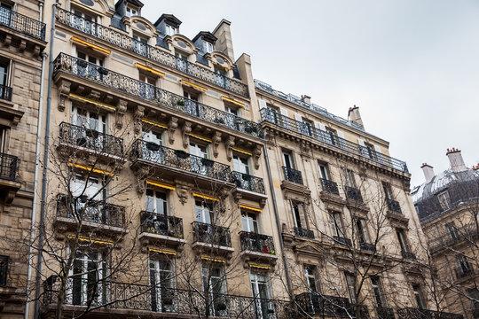 Antique buildings at Danton street in Paris France