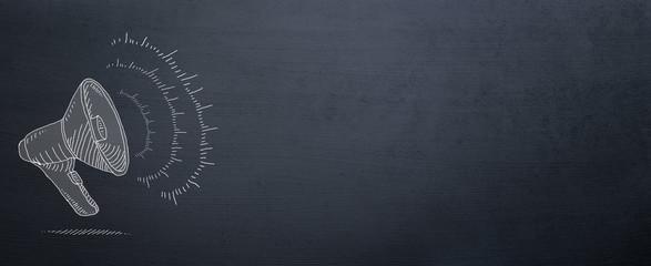 megaphone drawn on blackboard for announce background