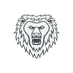 Lion mascot head vector logotype illustration emblem isolated animals sport