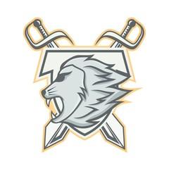 Lion mascot head vector logotype illustration emblem isolated animals sport