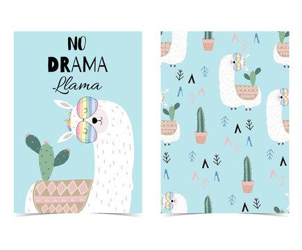 Blue hand drawn cute card with llama, glasses and cactus.Llama not drama