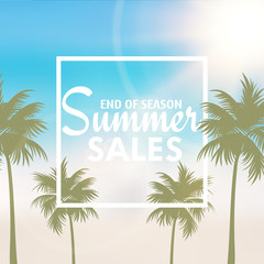 Summer sales card with palm tree leaves . Vector