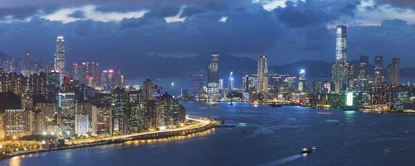 Victoria harbor of Hong Kong city at dusk