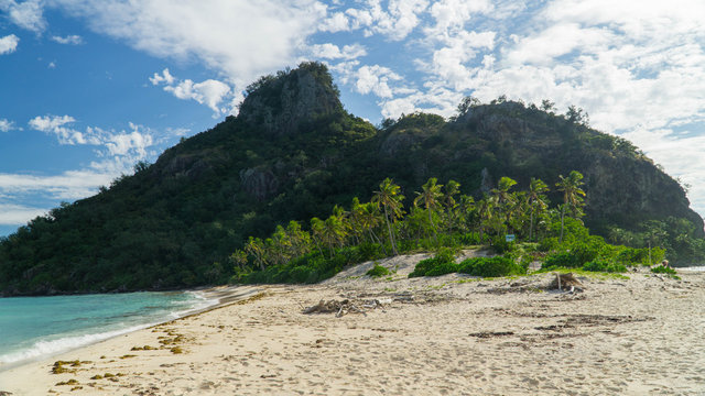 Sunny day in the Monuriki island where Castaway movie was filmed, Fiji