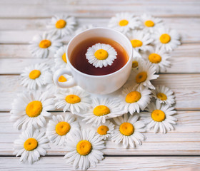 Cup of beauty chamomile tea with fresh daisies. White fresh flowers on a light gray vintage wooden background. Concept.