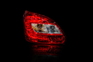 Car tail lights technology that is separated from the background.