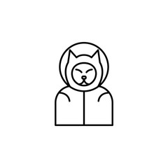 dog cosmonaut icon. Element of space for mobile concept and web apps illustration. Thin line icon for website design and development, app development
