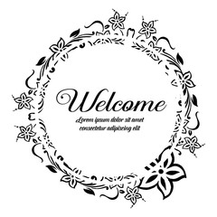 Greeting card welcome with flower design art vector illustration