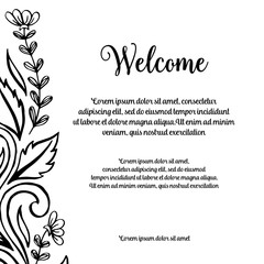 Greeting card of welcome floral art collection vector illustration