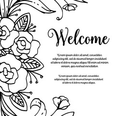 Welcome design art greeting card floral vector illustration