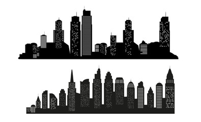 Set of Modern landscape. City skyscrapers building office horizon  on white background. Can be used for green city, recreation zone. Vector Illustration.