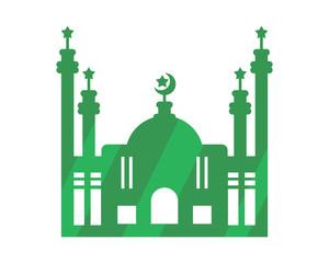 green mosque islam muslim religion spirituality religious image vector icon