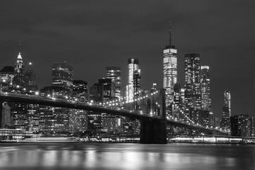 Brooklyn Bridge and Downtown Skyscrapers in New York, black and white
