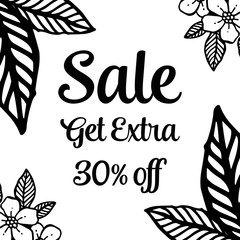 sale floral banner for seasonal design vector illustration