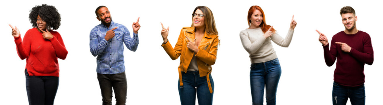 Group of cool people, woman and man pointing away side with finger
