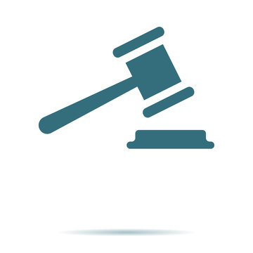 Judge Gavel icon isolated. Trendy legal symbol for website. Modern simple flat low sign. Business, i