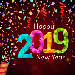 Happy New Year 2019 greeting banner. Festive background with colorful confetti, party popper and sparkles. Vector