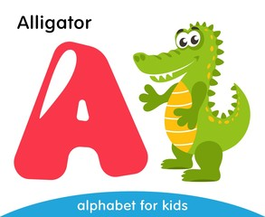 Pink letter A and green Alligator. English alphabet with animals. Cartoon characters isolated on white background. Flat design. Zoo theme. Colorful vector illustration for kids.