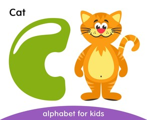 Green letter C and yellow Cat. English alphabet with animals. Cartoon characters isolated on white background. Flat design. Zoo theme. Colorful vector illustration for kids.