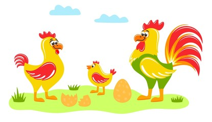 Rooster, hen,  chick and an egg on the lawn. Chicken family on the grass under the clouds. Cute cartoon characters on white background. Flat style. Colorful vector illustration.