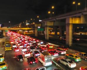 Traffic jam in the city night light background