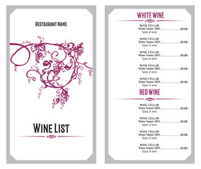 Wine list design template. Hand drawn vine grape. Vintage design of restaurant menu.