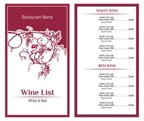 Wine list design template. Hand drawn vine grape.Vintage design of restaurant menu.