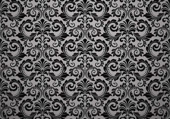 Wallpaper in the style of Baroque. Seamless vector background. Black floral ornament. Graphic pattern for fabric, wallpaper, packaging. Ornate Damask flower ornament Fototapete