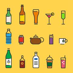 various kind of beverage outline icons. flat design style vector graphic illustration set