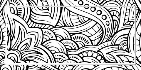Ethnic black and white doodle background.